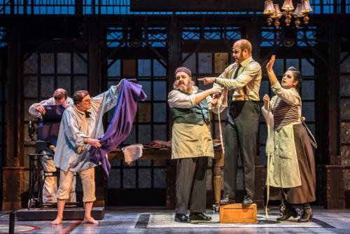 As Petrovich the Tailor with Geoffrey Sirrett (Akakiy), Erika Iris Huang (Mrs. Petrovich) & Colin Heath