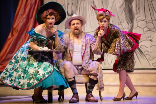 Don Magnifico with Caitlin Wood (Clorinda) and Sylvia Szadovski (Tisbe)