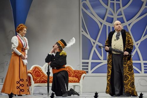 As Bartolo with Andrea Hill (Rosina) and John Tessier (Almaviva)
